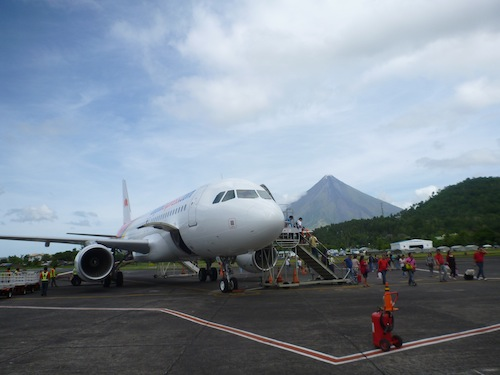 Landing in the small airport beside Mt Mayon