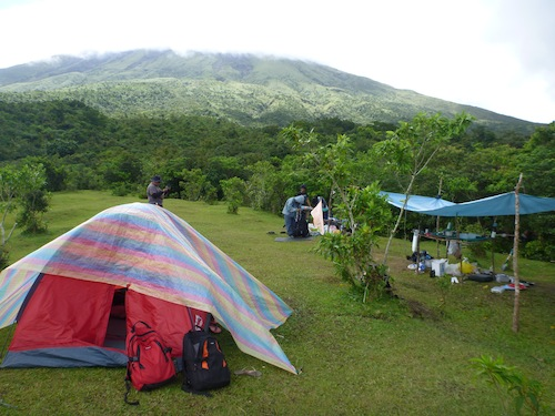 Our tent and backpacks. Dinner was cooked in the makeshift 'kitchen' with the blue roof cover