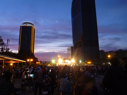 On the way - stumbled upon a crowded political rally where the party was on stage for its song and dance (and speech)