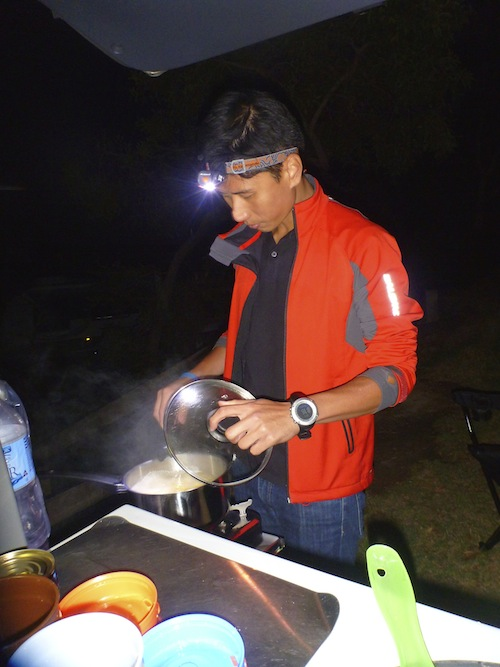 Cooking dinner with headtorch