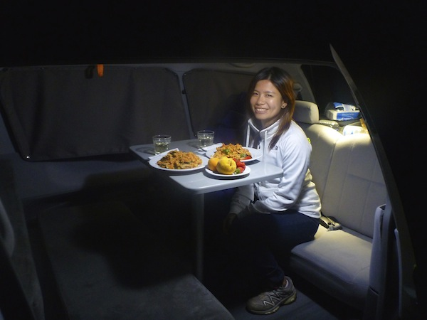 Dinner inside our campervan on a chilly night