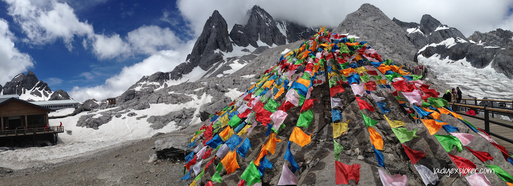 Tibetan flags at Jade Dragon Snow Mountain glacier