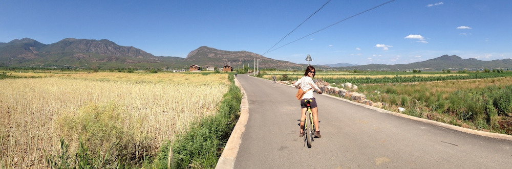 Cycling through the villages to our guesthouse