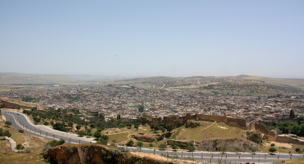 Panoramic view of the Old Medina of Fes from Merenid Tombs