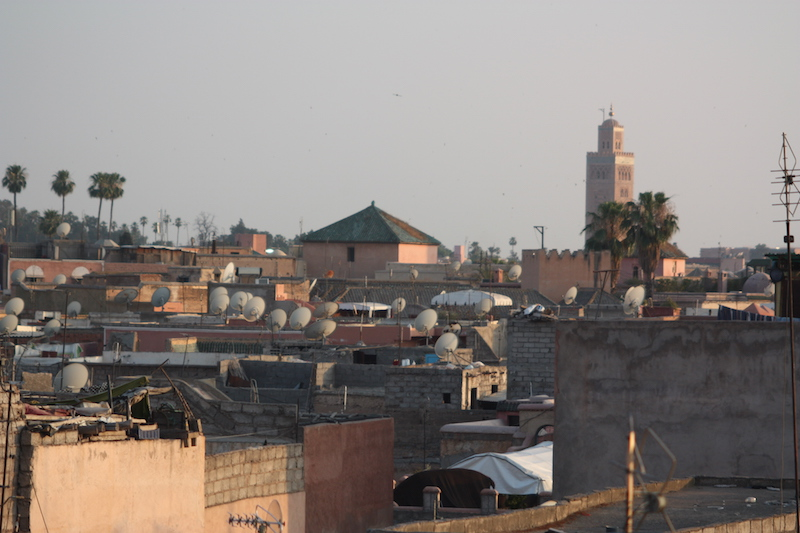 The congested rooftops of Marrakech's dense medina