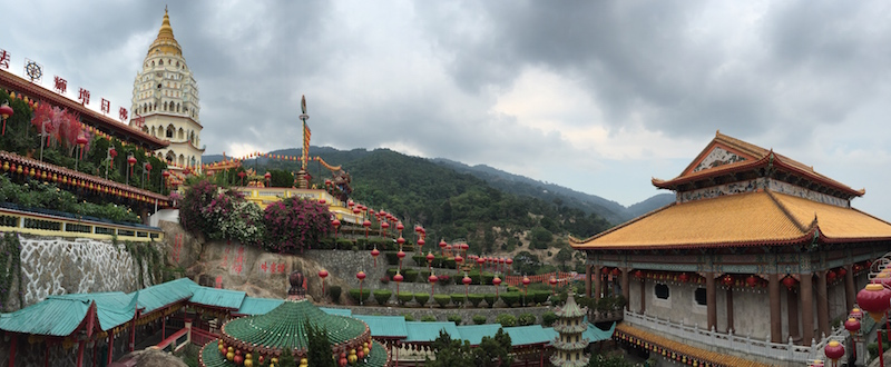 A panaromic view of Kek Lok Si Temple and its striking pagoda