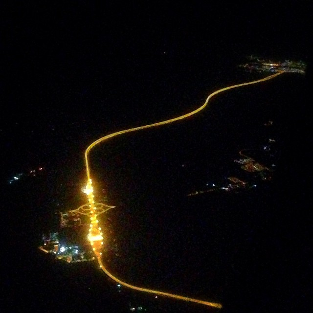 The brightly lit Penang 2nd Bridge from the skies