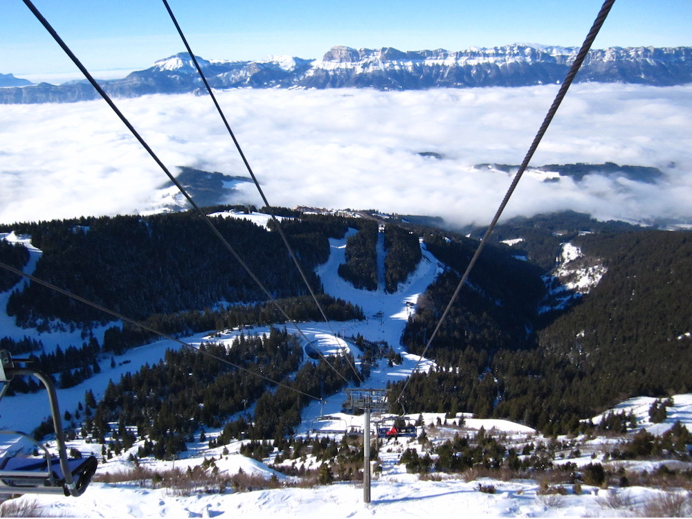 From a ski lift at Les 7 Laux