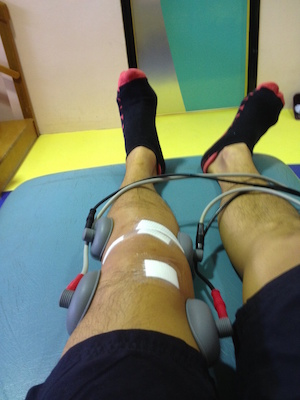 Electrical muscle stimulation at the physio apparently helped with recovery [Left knee - May 2012]
