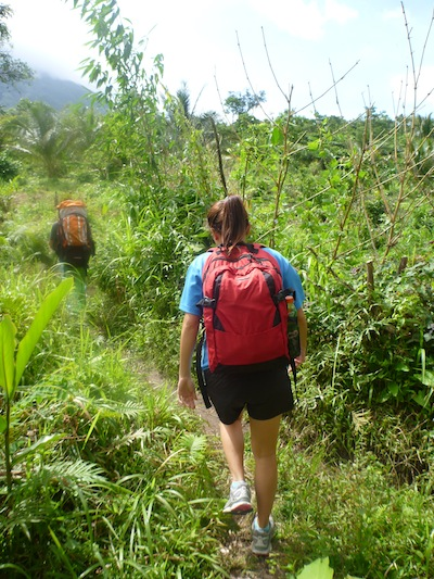 Hiking through the thick vegetation