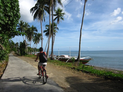 Cycling by the coast