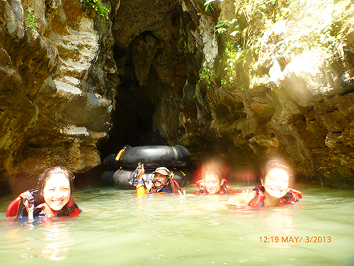 Swimming in the caves