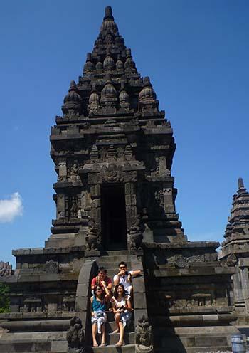 Chilling on the steps at Prambanan