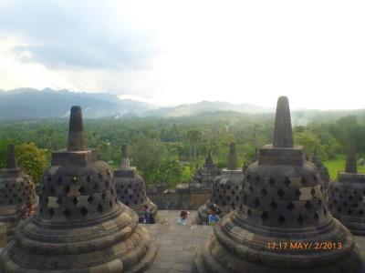 Borobudur overlooking the surrounding mountains