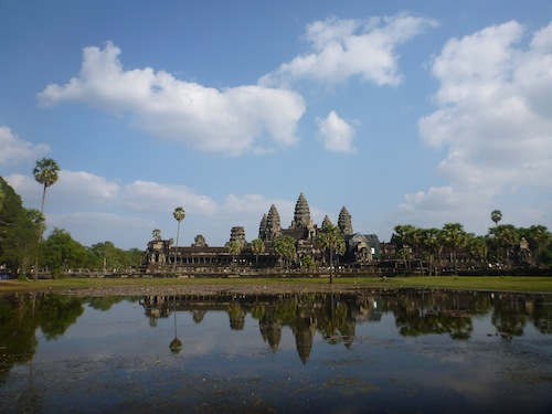 Tip #4: There are two ponds to catch the beautiful reflections of Angkor Wat. The left 'Reflecting Pond' (above) is where the famous sunrise photos are taken, but the right 'Angkor Wat Basin' (shown with my picnic lunch) is a beauty as well and is less crowded