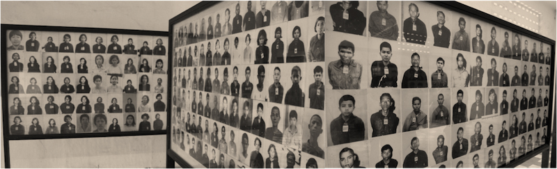 Photographs of victims and child soldiers meticulously documented in the Khmer Rouge and displayed at Tuol Sleng Genocide Museum today