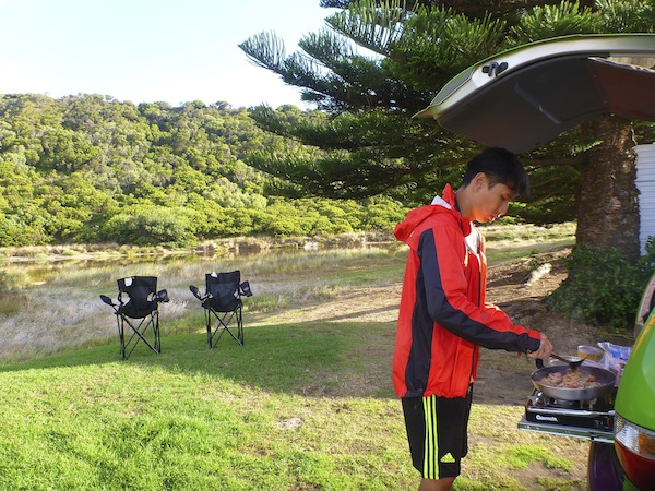 Cooking breakfast at Port Campbell