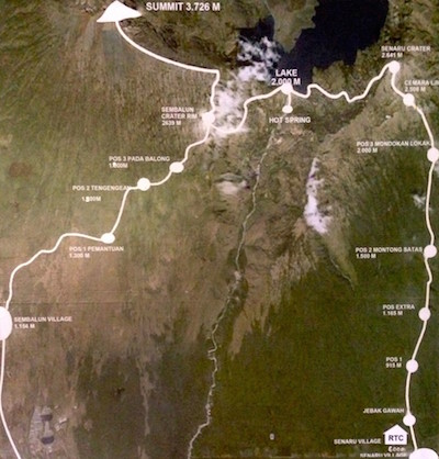 Mt Rinjani route