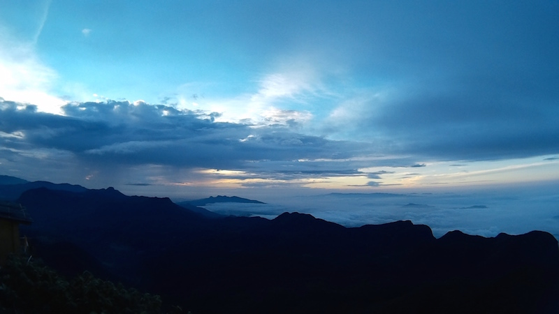 A cloudy sunrise on Adam's Peak