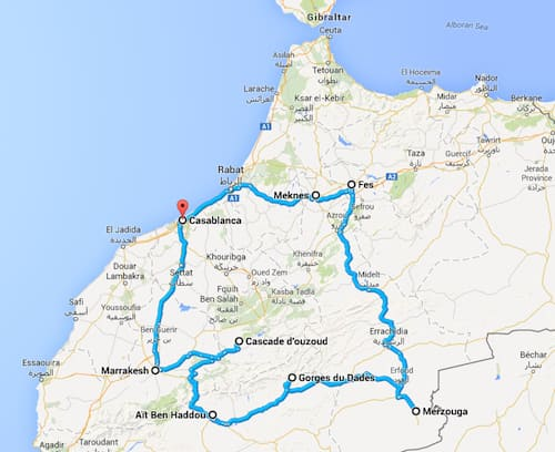 Morocco-itinerary map
