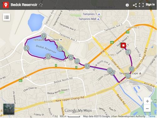 Bedok Reservoir map