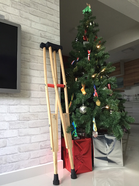My hipster laotian wooden crutches (orange tennis grip tape upgrade by KT)
